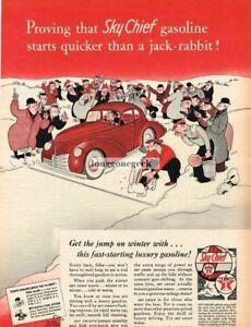 1941 Texaco Sky Chief gasoline Rabbit Vs Car Cartoon art Gluyas Williams Vintage