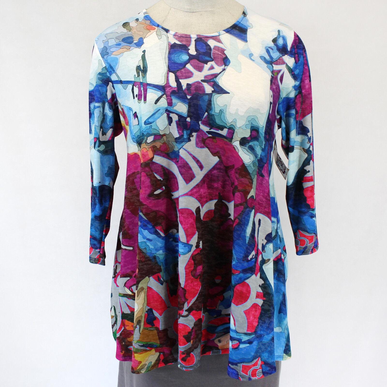 NEW Amma Design Plus Picasso Inspirot Art Spring Blouse Multi-Farbe Top 3X USA
