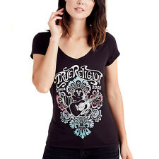 NEW Genuine TRUE RELIGION Black Sparkly Buddha Logo T Shirt Womens Size Small