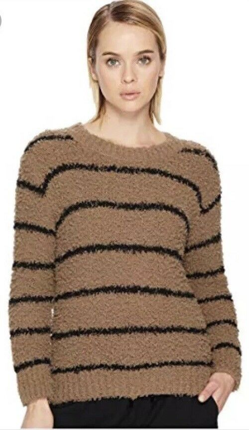 Vince Fuzzy Striped Cotton Boucle Crew Sweater Sweater Sweater size M NWT  395 Final Price 47d6cb