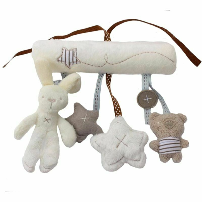 Swovo Stroller Toys Baby Rattle Bed Hanging Toys for Babies Newborn Infant Rabbit Bear Soft Plush for Music Car