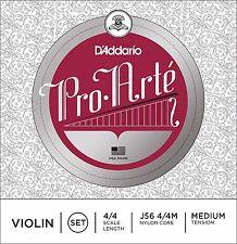 D'Addario Pro Arte Violin Strings J56 4/4 Nylon Core, Medium, One Set