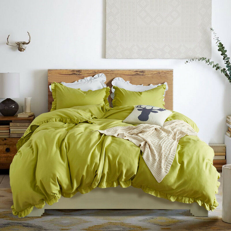 Ruffled Quilt Cover Bedding Set Duvet Cover with Pillow Case All Size Multicolor