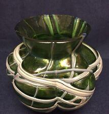 Kralik Pallme Konig Iridescent Silver Threaded Lobed Art Nouveau Vase