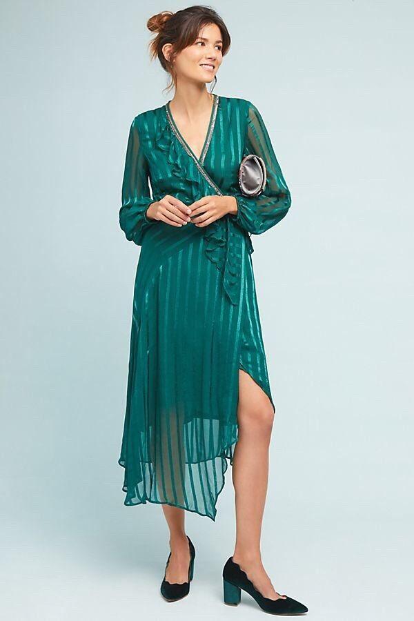 Holly Ruffled Wrap Midi Dress By BL-NK London Size M