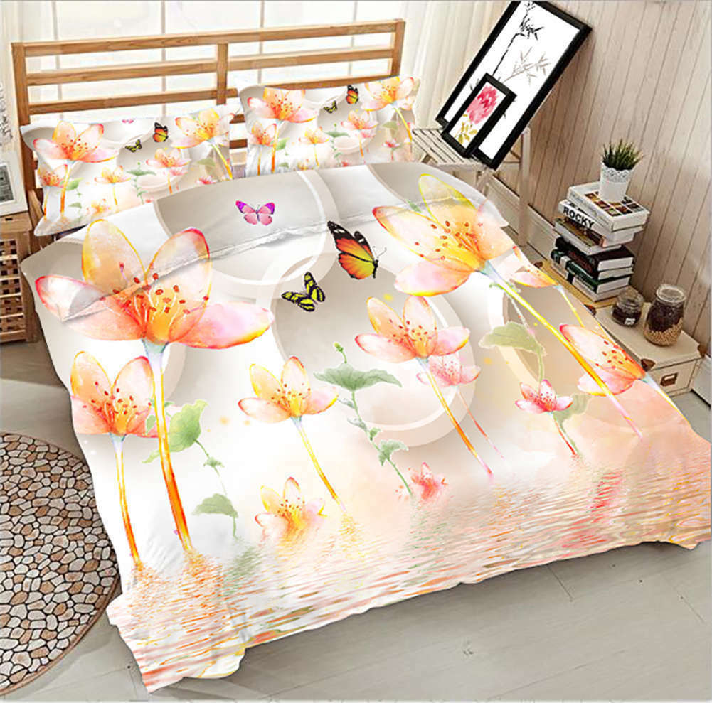 Butterfly Lily 3D Printing Duvet Quilt Doona Covers Pillow Case Bedding Sets