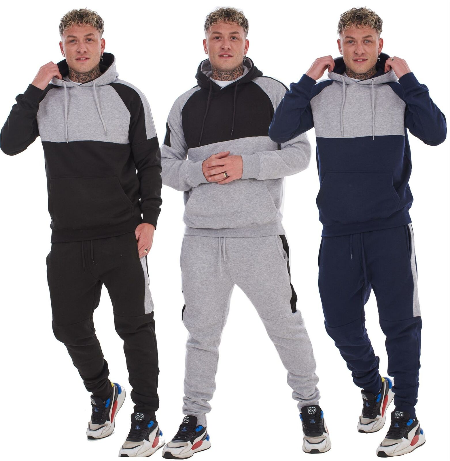 Mens Hooded Tracksuits Pullover Half Arm Striped Sweatshirts Joggers Activewear