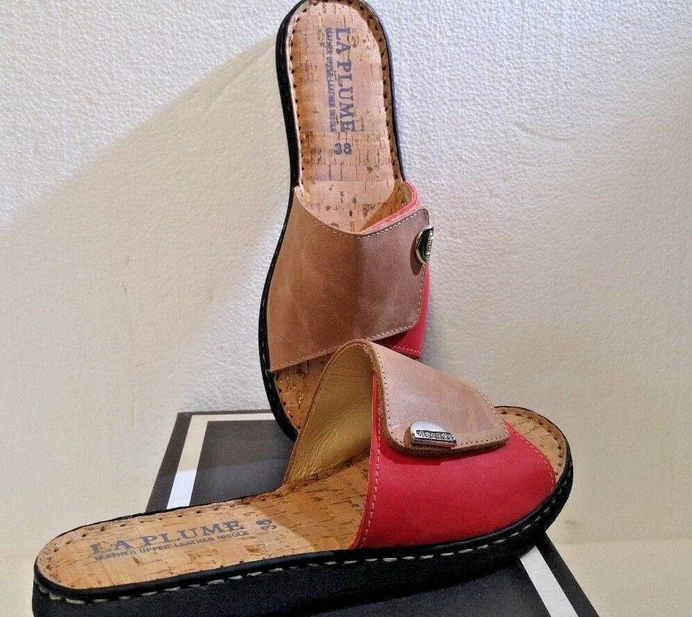 LaPlume, Raleigh Red Combo, Taglia 38 (7.5), Flat Sandals