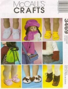 Pattern-Sewing-McCalls-Girl-fits-18-034-inch-Doll-Shoes-Hat-Scarf-Mittens