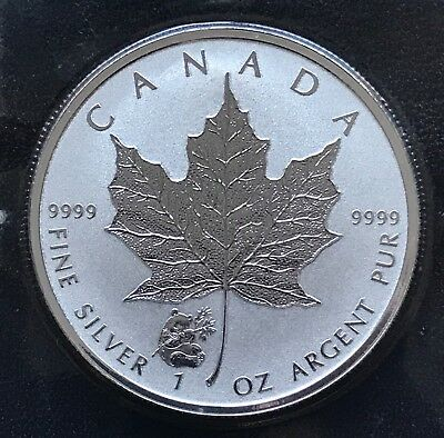 2016 1 oz Wolf Privy Canadian .999 DeCam Silver Maple Leaf Reverse 5 Dollars