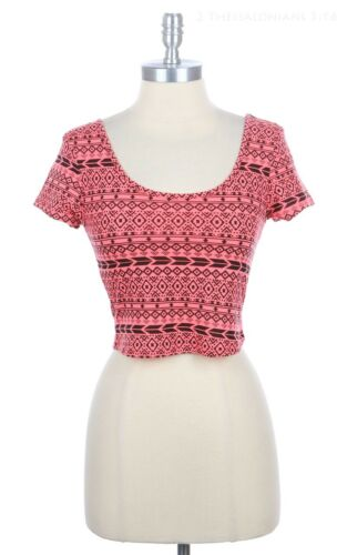 All Over Aztec Print Open T Back Crop Top Short Sleeve Round Neck Cotton S M L