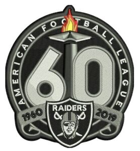 OAKLAND-RAIDERS-60TH-ANNIVERSARY-PATCH-1960-2019-SEASON-NFL-FOOTBALL-LAS-VEGAS