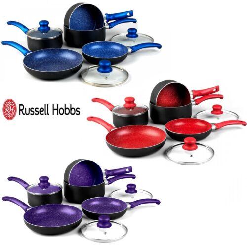Russell Hobbs 8 Pièces Antiadhésif Induction Stone Pan Set Casserole Poêle Pot