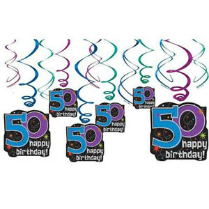 Details About Over The Hill 50th Birthday Swirl Decorations 12 Party Supplies Foil Blue