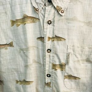 Columbia-River-Lodge-Button-Up-Mens-Camp-Shirt-Trout-Print-Size-L-Short-Sleeve
