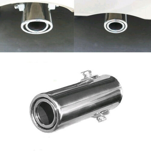 1x Car Rear Round Exhaust Pipe Tail Throat Muffler Tip Stainless Steel Universal