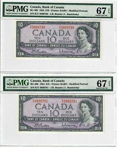 Canada-10-Dollars-2-Pair-Banknotes-1954-BC-40b-PMG-Superb-GEM-UNC-67-EPQ