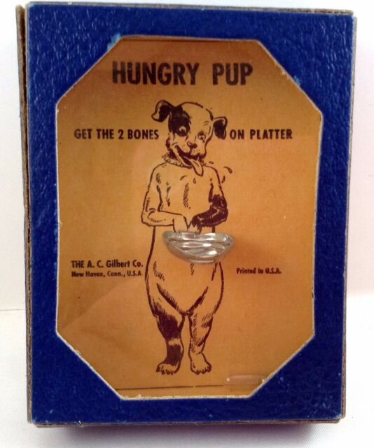 A.C. Gilbert Hungry Pup Dog Handheld Puzzle Game 1940's War Time Vintage