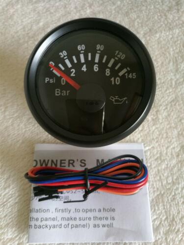 Universal 2/'/'//52mm Black 0-145psi Oil Pressure Gauge with Sender 0-10bar 10-184ohm