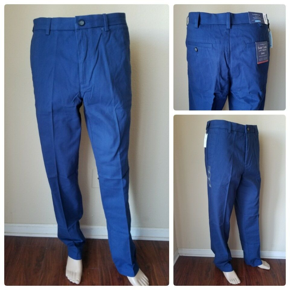 Croft & Barrow Easy Care Stretch Khaki Pants Flat Front Navy bluee Classic 32x34