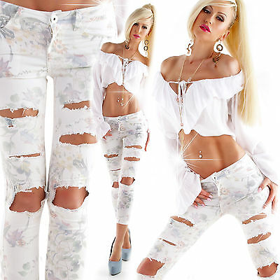 Sexy Women Skinny Destroyed Jeans Ladies Floral Pants size 6 8 10 12 S M Trouser