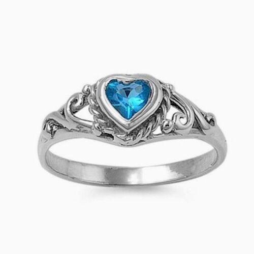 USA vendeur Bébé Anneau Argent Sterling 925 BEST DEAL Bijoux topaze bleue Zircon Cubique Taille 2