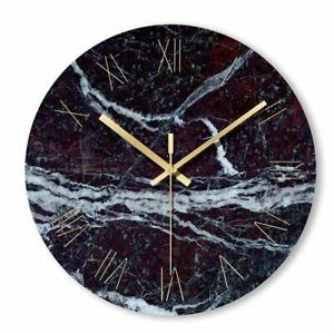Marble Clock Wall Watch Living Room Kitchen Office Bedroom Round Time Decoration