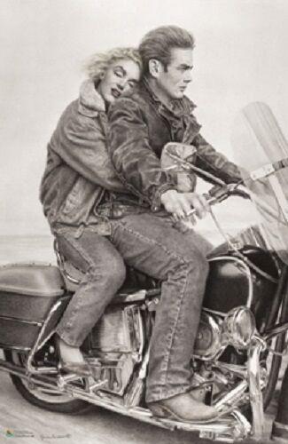 Moto Helen Flint pop art poster Monroe and Dean riding motorcycle