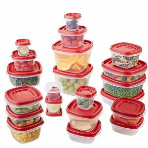 Image is loading New-42-Red-Food-Storage-Containers-Saver-Freezer-  sc 1 st  eBay & Details about New 42 Red Food Storage Containers Saver Freezer Vegetable Rubbermaid Container