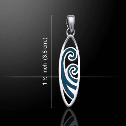 Waves Surfboard .925 Sterling Silver Pendant by Peter Stone