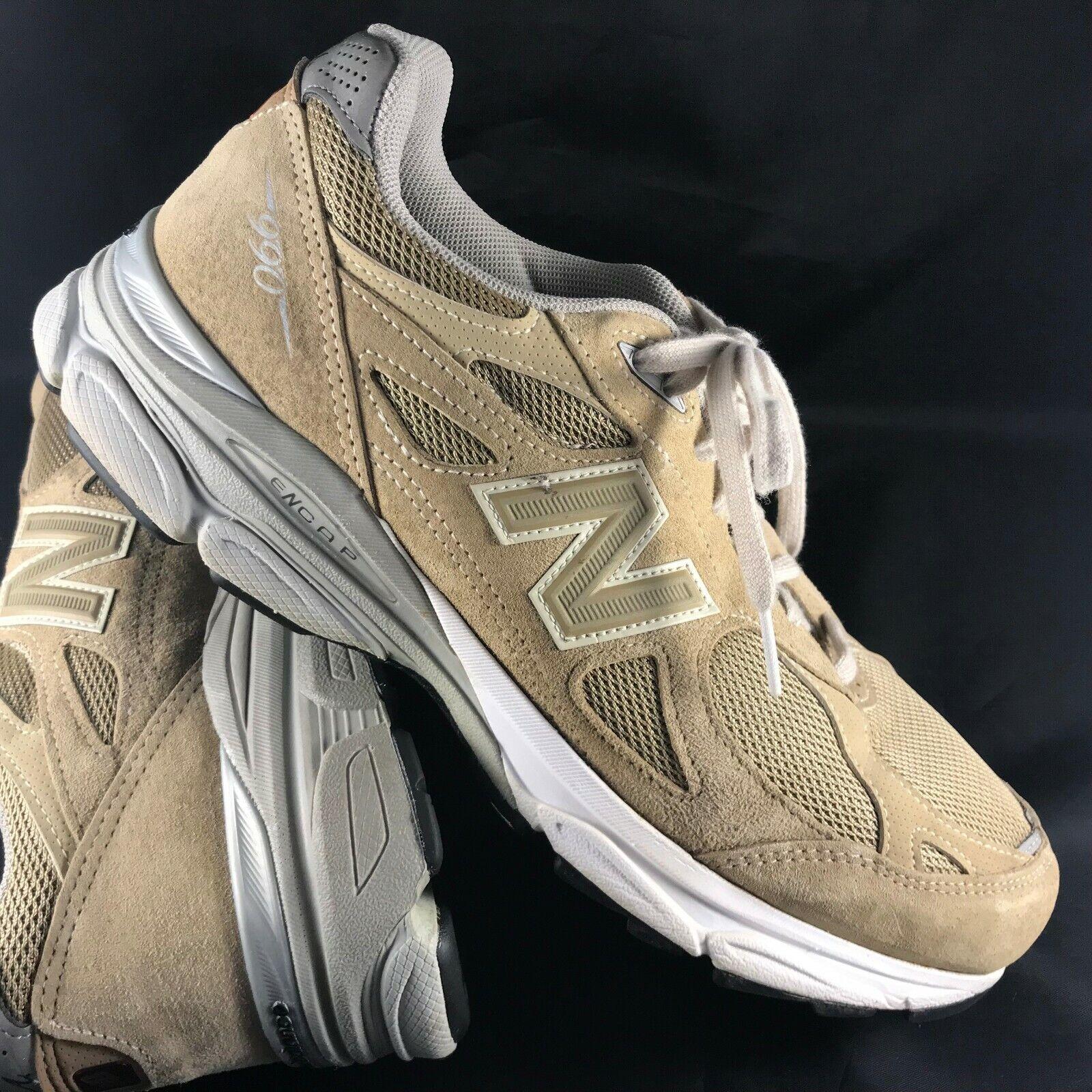 New Balance 990 Version 3 Men Khaki Tan Suede Sneakers Size 10 (4E) Extra Wide