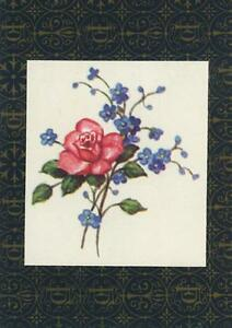 VINTAGE-PINK-ROSE-FORGET-ME-NOTS-LITHO-ART-PRINT-ON-ANTIQUE-ACEO-SIZE-OLD-PAPER