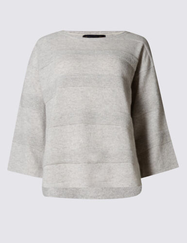 M /& S COLLECTION LADIES PURE CASHMERE RIPLE STITCH JUMPER IN THREE COLOURS