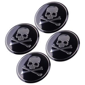 4x-56mm-Car-SUV-Metal-Cross-Bone-Silver-Skull-Badge-Sticker-Wheel-Center-Hub-Cap