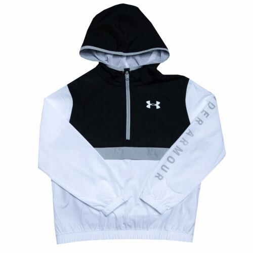 Junior Girls Under Armour Packable 1//2 Zip Jacket In Black White Half Zip To