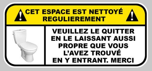 AUTOCOLLANT WC MENAGE PROPRETE TOILETTES AVERTISSEMENT STICKER 15x7cm WA023