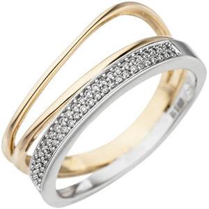 8563ddb6a4eb La imagen se está cargando Anillo-Mujer-con-51-Diamantes-Brillantes-3-Hilos-