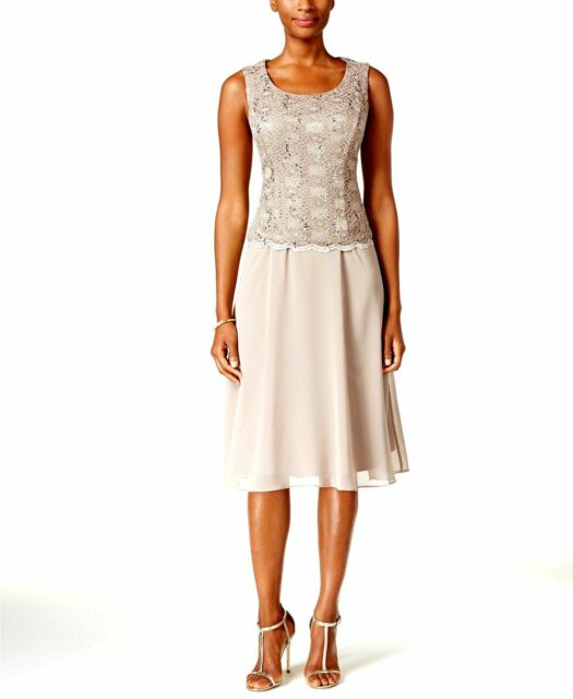 94b10e6d $268 R&M RICHARDS WOMENS MOCHA BROWN SEQUINED LACE POP-OVER SHIFT DRESS  SIZE 16