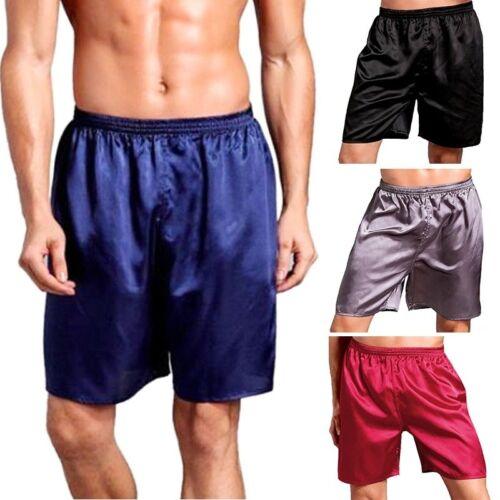 Summer Men Nightwear Breathable Pajamas Short Pants Sleepwear Satin Silk Pants