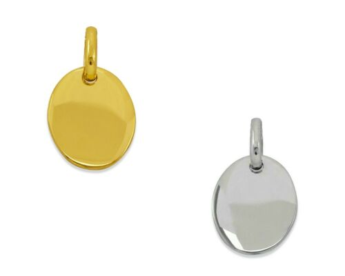 Details about  /Engravable Oval Necklace Pendant Women 14K Solid Yellow White Gold Italy