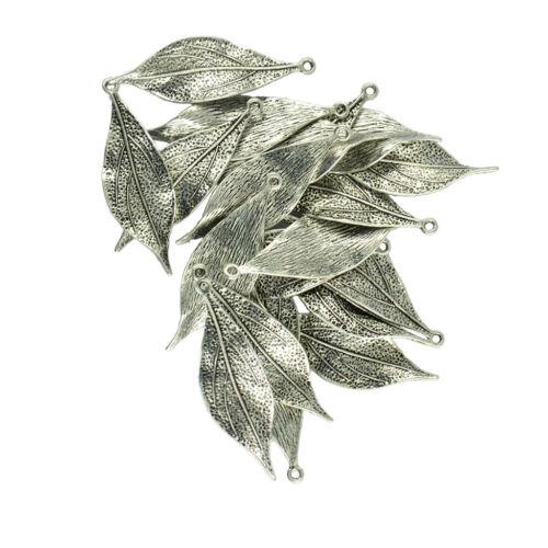 10 Pairs 3D Silver Leaves Pendant DIY Fashion Pendant Jewelry Making Unisex