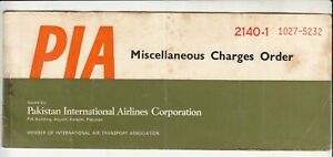 1973-PAKISTAN-PIA-INTERNATIONAL-AIRLINES-MISCELLANEOUS-CHARGES-ORDER-TICKET-RARE
