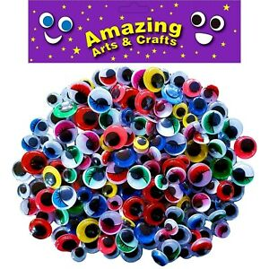 200-autoadhesif-Wiggle-Wiggly-yeux-doux-Assorted-Types-Tailles-10-mm-12-mm-15-mm
