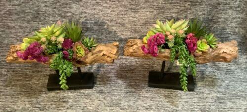 "Pier 1 Imports 13/"" x 16/"" Faux Succulent Log Colorful Arrangement on Stand NWT"
