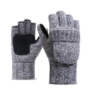 Mens-Cashmere-Blend-Warmer-Fingerless-Convertiable-to-Flop-Top-Gloves-Mittens