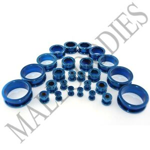 V013-Screw-on-fit-Blue-Surgical-Steel-Flesh-Tunnels-Ear-Plugs-10G-1-034-All-Gauges