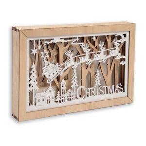 Weihnachten-Holz-LED-Beleuchtung-Festliche-Szene-Rentier-Dekoration-Ornament
