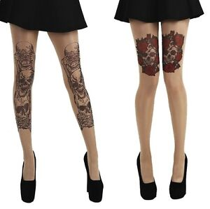 015376a6eca Image is loading GOTH-GOTHIC-TATTOO-STYLE-HALLOWEEN-TIGHTS-SKULLS-ROSES-