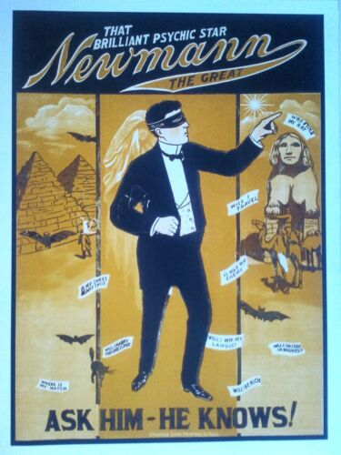NEWMANN-Ask Him-Vintage Psychic  Magic Advertising POSTER-60cmx45cm Brand New
