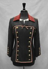 B0 Auth GEMMA KAHNG Vtg Charcoal Wool Blend Red Trim Military Jacket Size 10